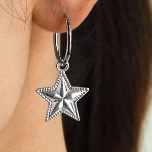 Any 2/$20! Silver Continuous Hoops w/Star Earrings
